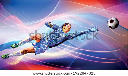 Soccer player against the background of the stadium Football player in full color vector illustration in triangular style isolated on white background. Olympic games. world championship