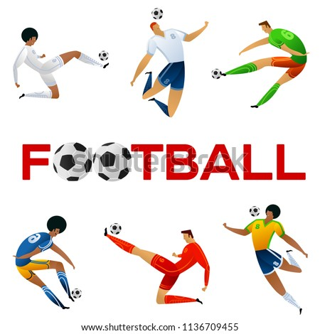 Soccer player against the background of the stadium. Lettering Football. Football player in campionship. Fool color vector illustration in flat style isolated on white background.