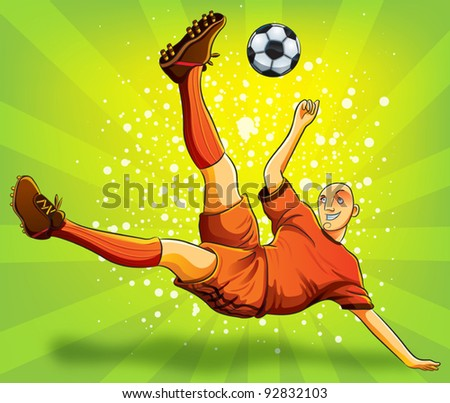Soccer Player Flying Shooting a Ball EPS 10 file version