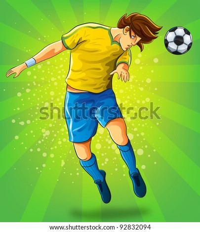 Soccer Player Head Shooting a Ball (EPS 10 file version) - stock vector