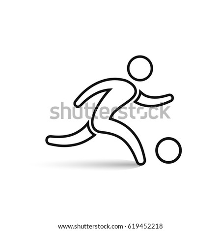 Soccer player icon outline symbol, vector isolated running football player illustration.