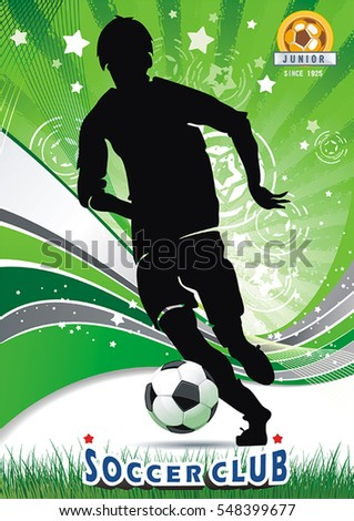 Soccer player in attack. Creative vector design. Abstract football poster. Original illustration sports series with place for your text, eps8