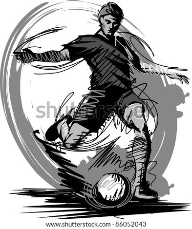 Soccer Player Kicking Ball Vector Illustration