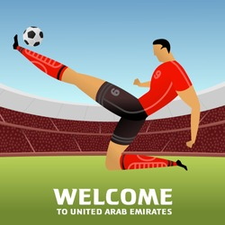 Soccer player on background with soccer stadium. 2018, 2019 trend. Asian Football Cup, Club World Cup in United Arab Emirates. Full color vector illustration in flat style.