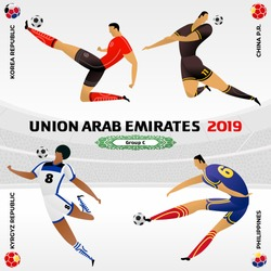 Soccer player on gray background with modern and traditional elements. 2018, 2019 trend. Asian Football Cup, Club World Cup in United Arab Emirates. Full color vector illustration in flat style.