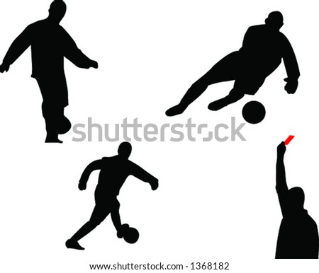 soccer player, reff and goalkeeper silhouettes