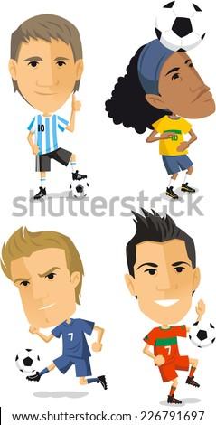 soccer player set cartoon