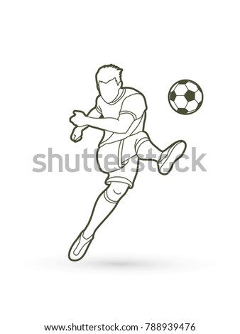 Soccer player shooting a ball action outline graphic vector