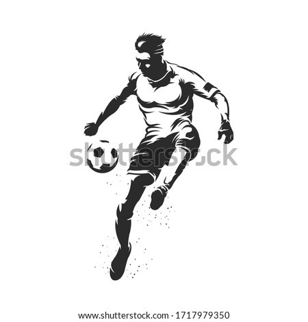Soccer player silhouette with ball design on white background Photo stock ©