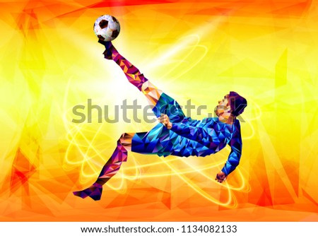 soccer player the background of