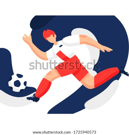 Soccer player vector modern illustration. Design of a stylish background for the soccer championship. Fifa world cup. Soccer ball.