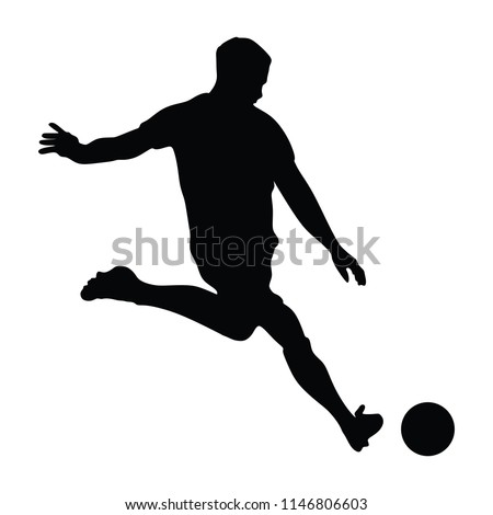 Soccer player vector silhouettes on white background. Football player silhouette cutout outlines. Soccer player free kick