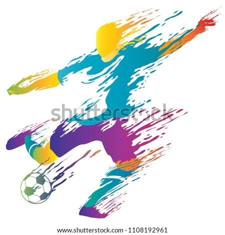 Soccer Player want to kick a ball with splash style in vector illustration
