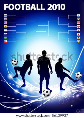 Soccer Player with Bracket on Abstract Light Background Original Illustration