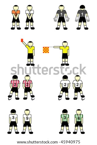 Soccer players in wall and with ball,  goalkeeper, referees with flag and card. Vector illustration.