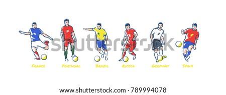 soccer players kicks the ball