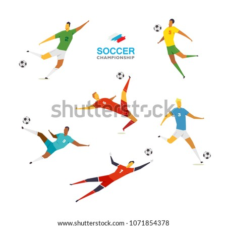 Soccer players set. Championship . Full color vector illustration in flat style isolated on white background.