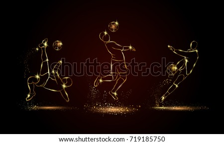 Soccer players set. Golden linear football player illustration for sport banner, background and flyer.