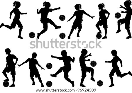 soccer players silhouettes of