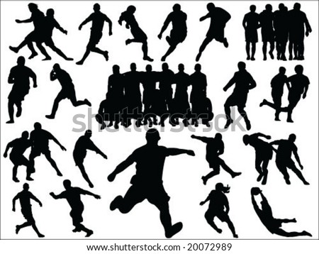 soccer players silhouettes vector collection