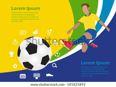 Soccer poster Brazil vector illustration template design