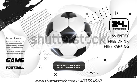 Soccer Poster design. Football Ball flyer concept. Design For Sport Bar ticket sale sport promotion. Tournament, Championship Flyer Design. Vector Soccer Sport Club, Academy Flyer or Invitation