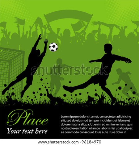 soccer poster with players and