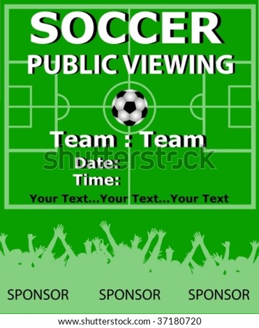soccer public viewing placard vector