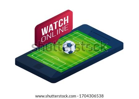 Soccer qatar 2022 football online concept vector flat isometric illustration. Online football flat isometric vector concept.