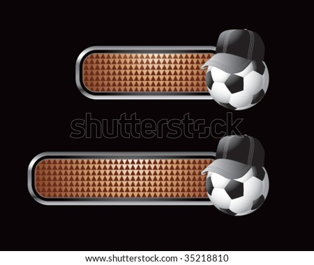 soccer referee ball on brown tabs