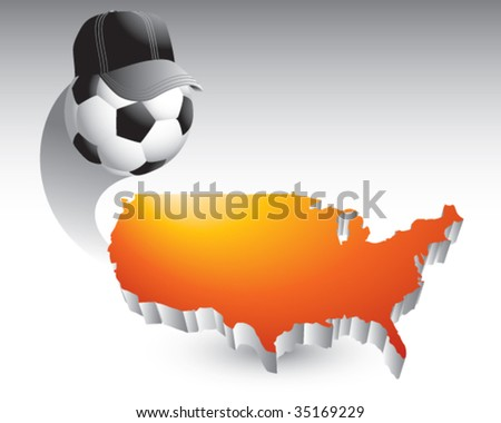 soccer referee ball on united states icon - stock vector