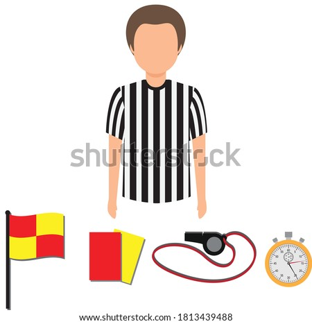 Soccer referee. Football referee. Red and yellow card. Referee flag.