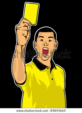 Soccer referee giving yellow card (football judge hand with yellow card)