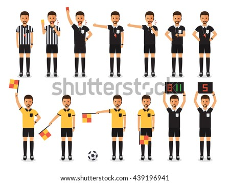 Soccer referees, football referees in actions on white background. Flat design people characters. Stock foto ©