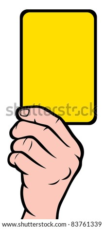 Soccer referees hand with yellow card (Soccer referees hand with yellow card)