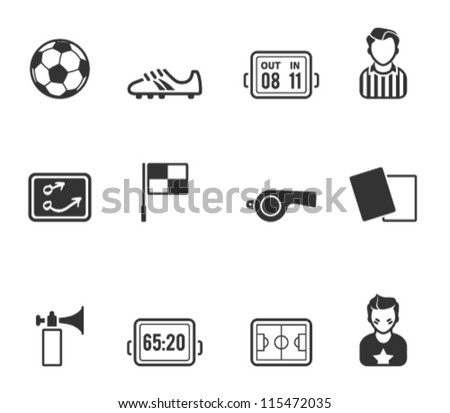 Soccer related icon series in single color