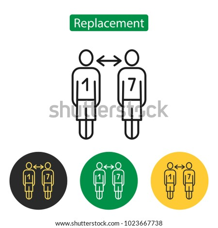 Soccer replace icon. The replacement of a player on the field sign. Sport accessories collection for info graphics, websites and print media. Vector illustration in line style. Editable stroke.
