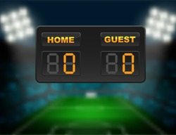 Soccer scoreboard of home and guest team on blurry football stadium background. Concept fro soccer match result report in vector illustrative.