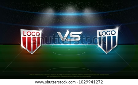 soccer scoreboard stadium background team A vs team B strategy broadcast graphic template, football score for web, poster, banner. vector illustration