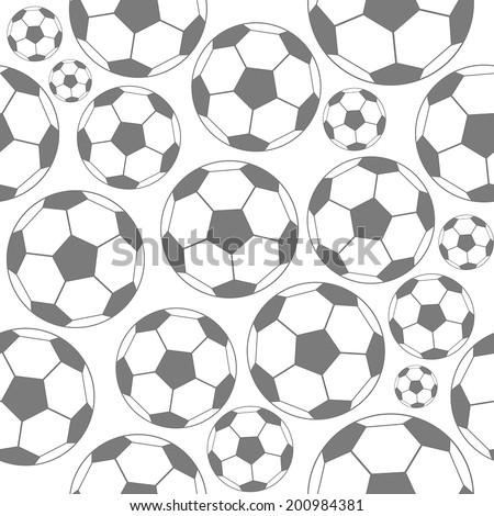 Soccer seamless  pattern balls, black and white