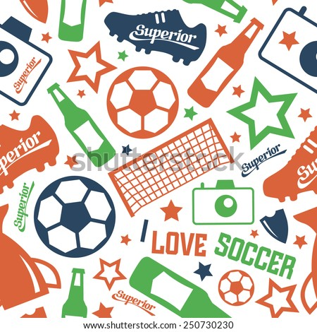 Soccer  seamless pattern. Color print on a white background