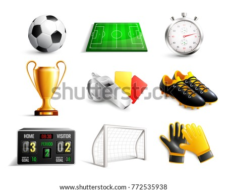 Soccer set of 3d icons with field, ball, trophy, scoreboard, whistle, gloves and boots isolated vector illustration