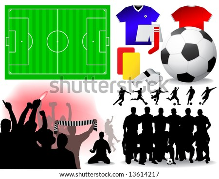 Soccer Set - Vector illustrations.  (All elements are grouped in layers and easy to edit)