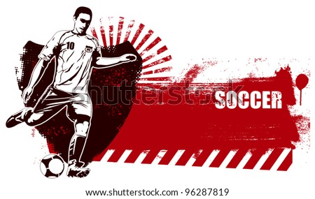 soccer shield with grunge red