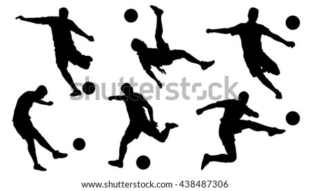 soccer shoot silhouettes on the