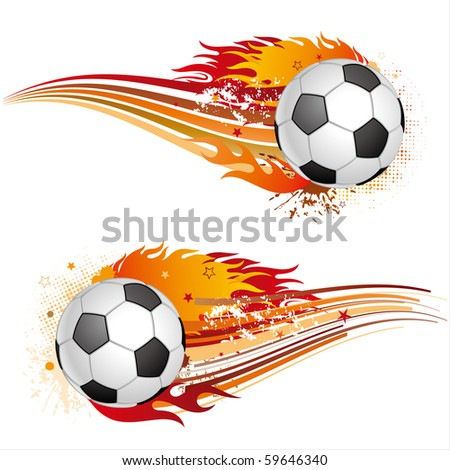 soccer sport element with flames