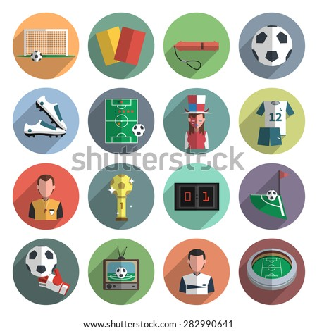 soccer sport flat round icons