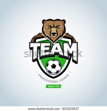 soccer sport logo bear mascot