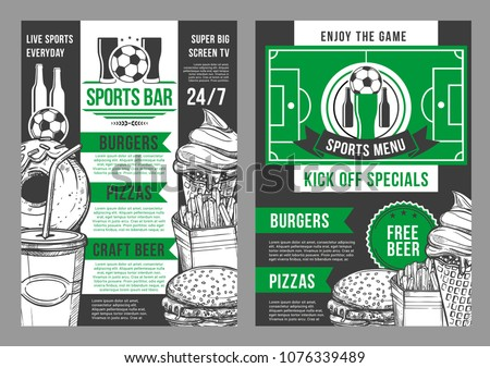 Soccer sports bar menu posters template for football championship special offer for craft beer, pizza, burgers and snacks or desserts. Vector menu design of soccer ball cup and arena stadium