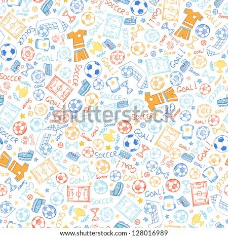 Soccer Sports Seamless Pattern Vector